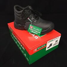 CHUKKA SAFETY WORK BOOTS LEATHER STEEL TOE CAP CLICK BLACK MENS/LADIES SIZE 3-11