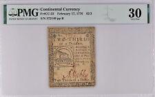 New ListingContinental Currency Fr#Cc-22 Feb. 17, 1776 $2/3 Pmg 30 Adam Hubley Signature Pq