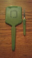 005 Vintage Green Celluloid Mirror and Finger File Dresser Set Vanity