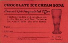 CHOCOLATE ICE CREAM SPECIAL GET-ACQUANTED OFFER CARD