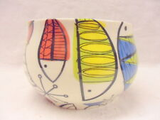 Retro fish design large open sugar bowl by Heron Cross Pottery