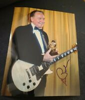 LES PAUL SIGNED 8X10 PHOTO JAZZ CLUB LEGEND GUITAR E W/COA+PROOF RARE WOW