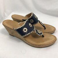 Jack Rogers Navy Marbella Metallic Leather Cork Wedge Sandals Women's Size 9M