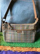Fossil Vintage Natural Straw Multi-Color Leather Zip Shoulder Bag Tote/Hobo