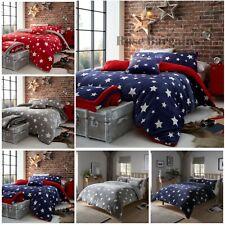 Teddy Bear Fleece Star Duvet Covers Set Single Double King Thermal UK Bedding