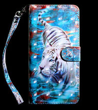 White tiger Multi-function flip Card slot wallet Leather protect back case cover