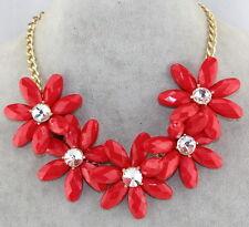 USA Stock Women Floral Chunky Statement Bib Pendant Chain Choker Necklace