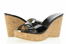 Womens JIMMY CHOO 166100 Black Patent Leather Slides / Wedge size 37