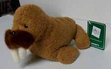 "Russ Luv Pets, 5"" Tuskie The Walrus, Brown Plush Stuffed Bean, Brand New W/ Tags"