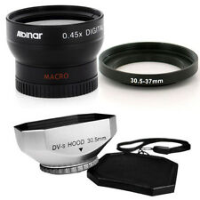 30.5mm Wide Angle Lens, Silver Hood for JVC Everio GZ-MG130,30.5 Camcorder NEW