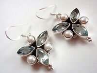 Faceted Blue Topaz Marquise Pearl 6 Gemstone 925 Sterling Silver Dangle Earrings