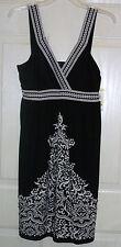 NWT Beaded Black White Eastern Sun Print Dress Halter V-Neck Empire Waist 8 NWT