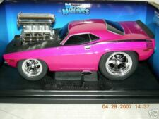 MUSCLE MACHINE 70 CUDA  HEMI  PINK  W/ BLACK 1:18SCALE
