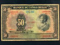 Belgian Congo:P-16a,50 Francs, 1941 * Woman * RARE Type * A *