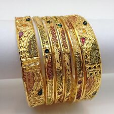 Indian asian bridal party ethnic wear 22ct plaqué or bracelets taille: 2.6