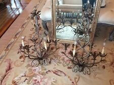 Pair Helix Italian VTG Style MACARONI Beaded Crystal Prism Tole Chandelier Lamp