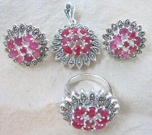 925 STERLING SILVER real GENUINE RUBY July Birthstone Earrings Pendant Ring SET