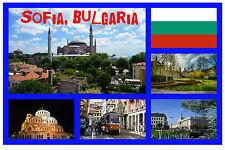 SOFIA, BULGARIA - SOUVENIR NOVELTY FRIDGE MAGNET - FLAGS / SIGHTS - NEW - GIFTS