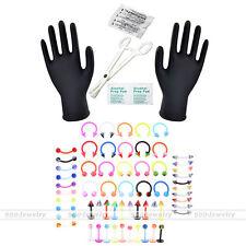 70pc 16G Body Piercing Kit Needle UV Eyebrow Nipple Lip Ring Clamps PRO Tool Set