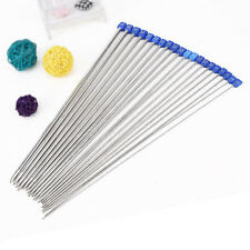 20x Smooth Metal Stainless Single Pointed Knitting Needles Set Knit Craft In Bag