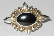 SMALL LADIES 925 PETITE DESIGN STERLING SILVER ONYX JET ? PIN BROOCH JEWELLERY