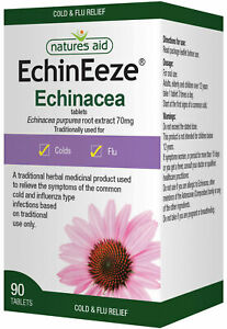 Echinacea Tablets Root 530mg (EchinEeze) Natures Aid 90 Vegan Tablets