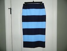 ZARA Navy Blue Striped Long Pencil Skirt SOLD OUT Size Small