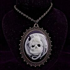 Glow in the Dark Skull Dragon Cameo Pendant Necklace