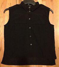 H&M Women Semi Sheer Sleeveless Shirt Button Front Black Top Blouse Size XS New