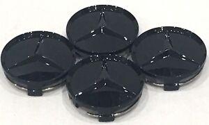 4X Mercedes Benz Center Caps Paint Gloss Black 3 Inch/75mm Fit C E S GL (PGB75)