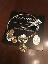 ALEX and ANI MUSSEL SHELL Russian Gold Charm Bangle Bracelet New W/Tag Card &Box