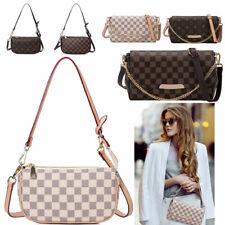 Women Checkered Leather Crossbody Purse Monogram Handbag Clutch Shoulder Bag