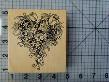 "PSX (Personal Stamp Exchange) ""Tulip & Rose Heart"" Wood Mount Rubber Stamp"