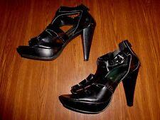 BARCCINI ZIPPER BACK BLACK SHOES/SANDALS WOMEN'S SIZE 7 1/2 M (4.5 INCH HEEL)