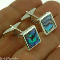 Abalone Sea Shell Sterling Silver Cuff-links