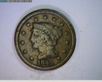 1845 Braided Hair Large Cent 1c old penny  ( # 35s81 )