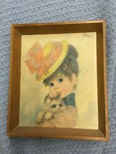 Vintage John Strevens Strev Retro Kitten Cute Big Eyed Girl Picture 60s Harriet