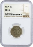1874 5C Shield Nickel NGC VF20 Very Fine Circulated Coin