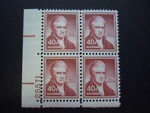 """1955 #1050a 40c John Marshall Plate Block """"Dry Printing"""" MNH OG"""
