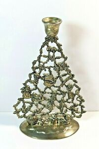 Vintage Silver Tone  Silver Plate ? Christmas Tree Taper Candle Holder  Heavy