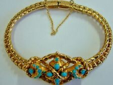 RARE VICTORIAN 15CT YELLOW GOLD TURQUOISE MEMORY FANCY BRACELET - 7 INCHES
