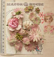 BATIK VINTAGE Mixed Styles PINK GREEN CREAM Paper 12Pk 15-65mm across GT MH VA4