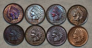 Uncirculated 1900, 1901, 1902, 1903, 1905, 1906, 1907 and 1908 Indian Cents
