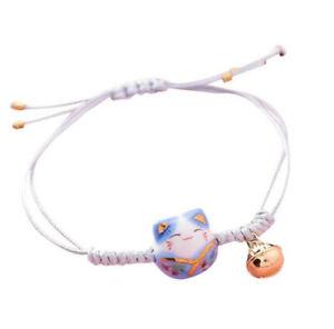 Feng Shui Lucky Ceramics Cat Maneki Neko Fortune Good Luck Wealth Bracelet Blue