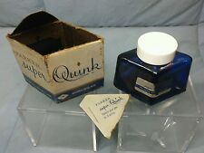 COBALT BLUE INK BOTTLE 2 OZ PARKER BROS SUPER QUINK EMPTY & BOX FOUNTAIN PEN