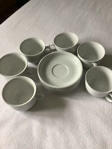 Thomas Trend weiss 6 Cappuccino Tassen mit 5 Untertassen, Rillengeschirr