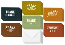 48 Assorted Pack Thank You Note Cards Bulk Vintage Rustic Typeface Design