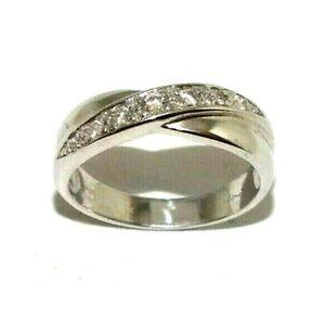 Women's Ladies 9ct 9carat White Gold Cross Over Diamond Ring UK Size M