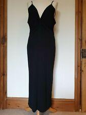 Gharani Strok Black Stretch Srappy V Front Low Back Evening Party Dress, Size 14