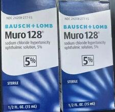 (2) NEW Bausch & Lomb Muro 128 5% Solution 1/2 fl oz 15ml Exp. 10/2021 & Better